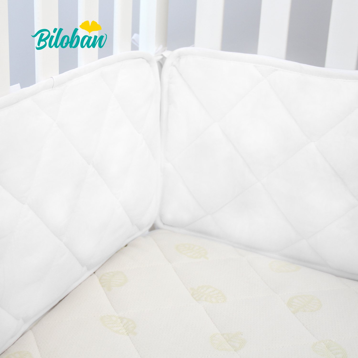 Biloban Safe Nursery Crib Bumper Pad, for Standard Size (52''28'') Crib Toddler Bed, Washable Crib Bedding Bumper Liners 4 Pieces/Set White