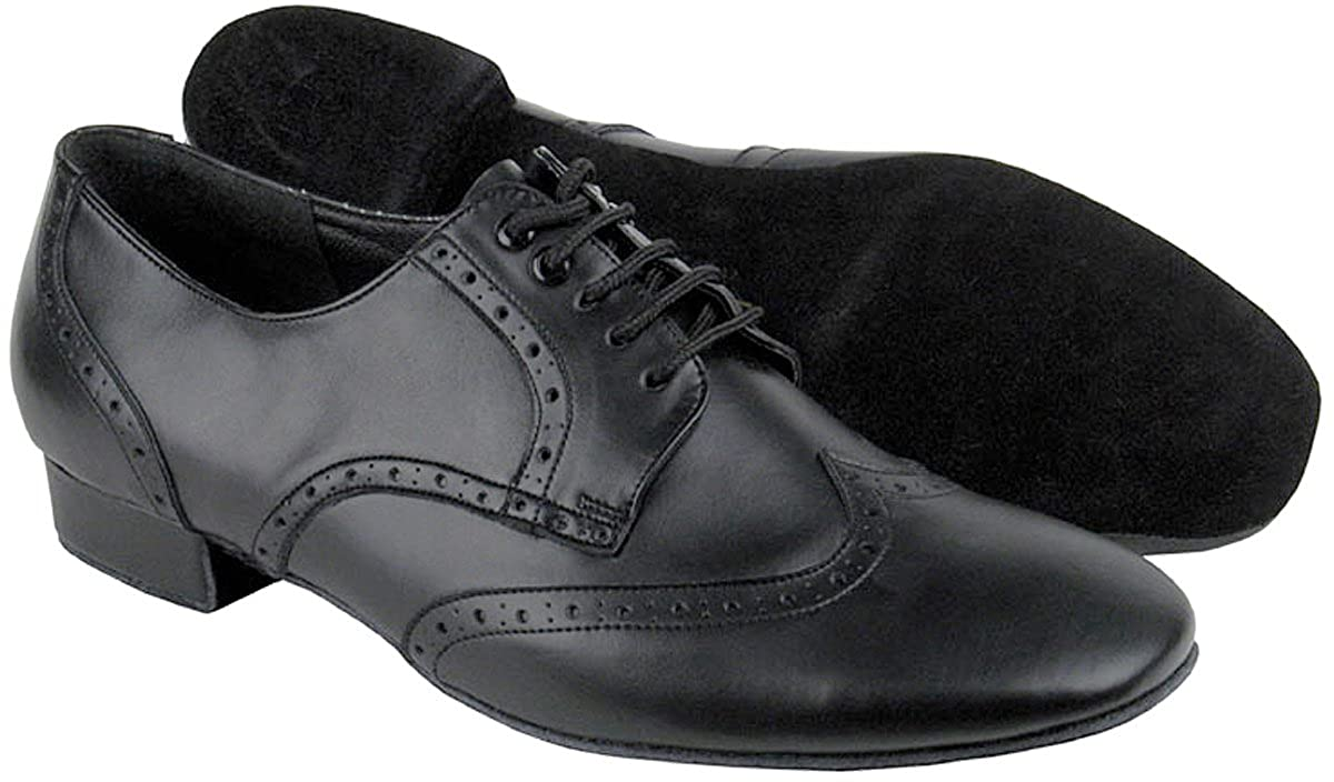 Peaky Blinders & Boardwalk Empire: Men's 1920s Gangster Clothing Very Fine Mens Salsa Ballroom Tango Latin Dance Shoes Style PP301 Bundle with Dance Shoe Wire Brush Black Leather 10.5 M US Heel 1 Inch $74.45 AT vintagedancer.com