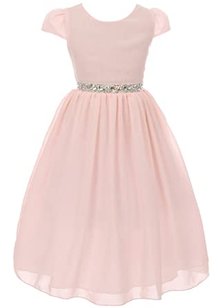 bae5e844aa34 Image Unavailable. Image not available for. Color: Little Girls Dress Short  Sleeve Chiffon Rhinestone Belt Holiday Party Flower Girl Dress Blush Size 2