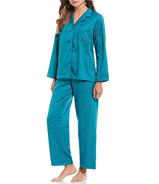 Miss Elaine Women s Brushed Back Satin Pajama Set (Medium 2ebe8122f