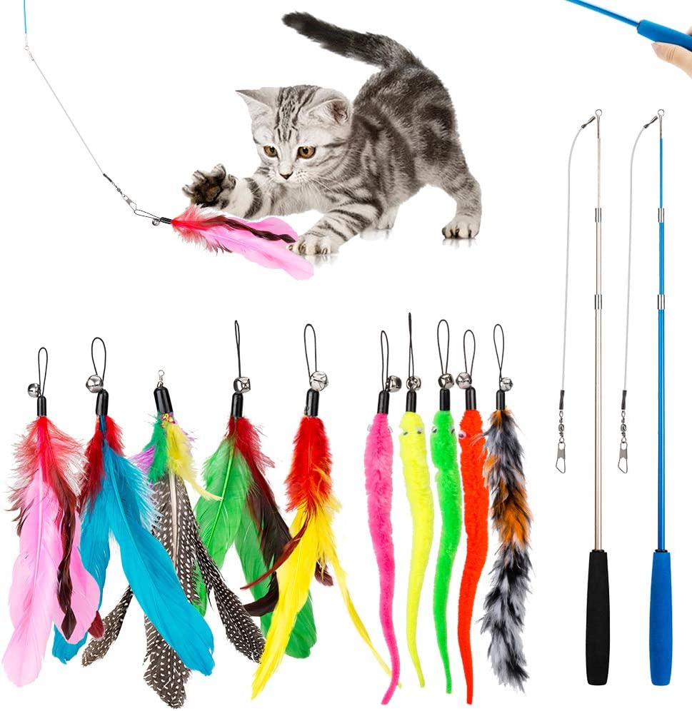 Retractable Cat Toys Wand with 5 Piece Teaser Refills Interactive Cat Feather Toy for Cat Kitten Having Fun Exerciser Playing