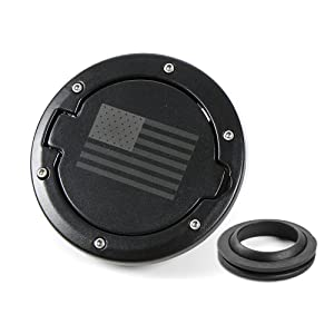 RT-TCZ Fuel Filler Door Gas Tank Cap Cover Accessories for 2007-2017 Jeep Wrangler JK & Unlimited Sport Rubicon Sahara (US Flag)