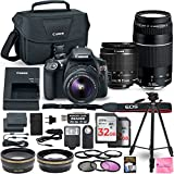 Canon EOS Rebel T6 DSLR Camera Bundle with Canon EF-S 18-55mm f/3.5-5.6 IS II Lens + Canon EF 75-300mm f/4-5.6 III Lens + 2pc 32GB Memory Cards + Camera Works DELUXE Accessory Kit