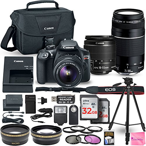 Canon EOS Rebel T6 DSLR Camera Bundle with Canon EF-S 18-55mm f/3.5-5.6 IS II Lens + Canon EF 75-300mm f/4-5.6 III Lens + 2pc 32GB Memory Cards + Camera Works DELUXE Accessory Kit from Camera Works