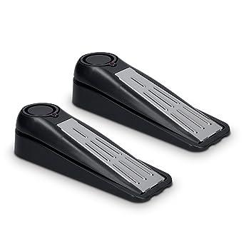 kwmobile set de 2 tacos electrónicos para puertas con alarma acústica cuña para puertas 120 dB 2 en 1 protección antirrobo sirena sistema de alarma