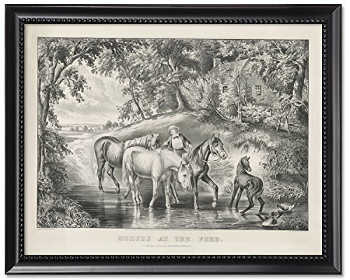 Framed Print 8x10: Horses At The Ford, (Currier & Ives Glass Print)