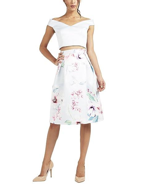 38472db6a Lipsy Mujer Falda De Fiesta De Satén Y Estampado De Flores: Amazon ...