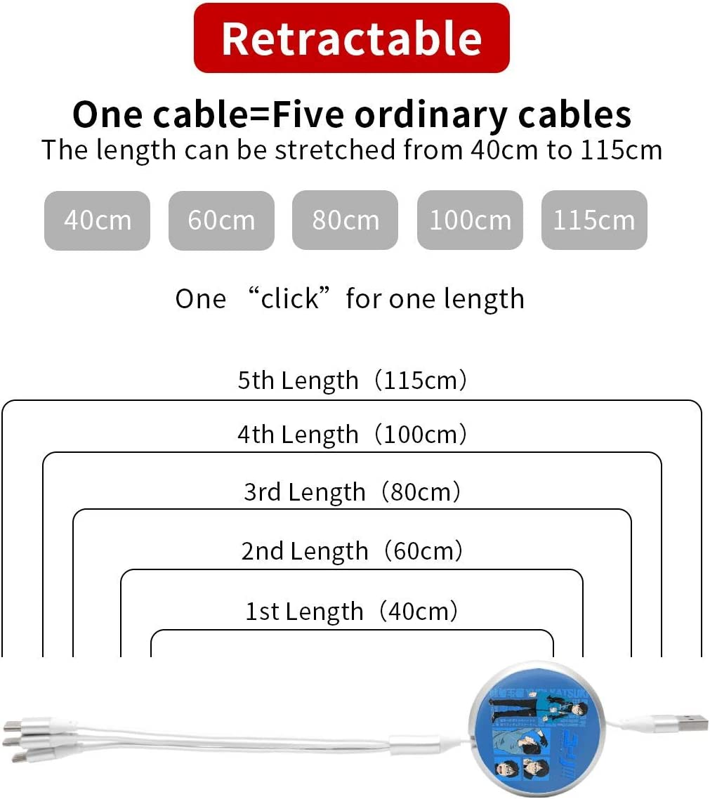 N//C Yuri On Ice Anime Round Three-in-One Charging Cable TPE Cable Pc Surface Aluminum Alloy Shell