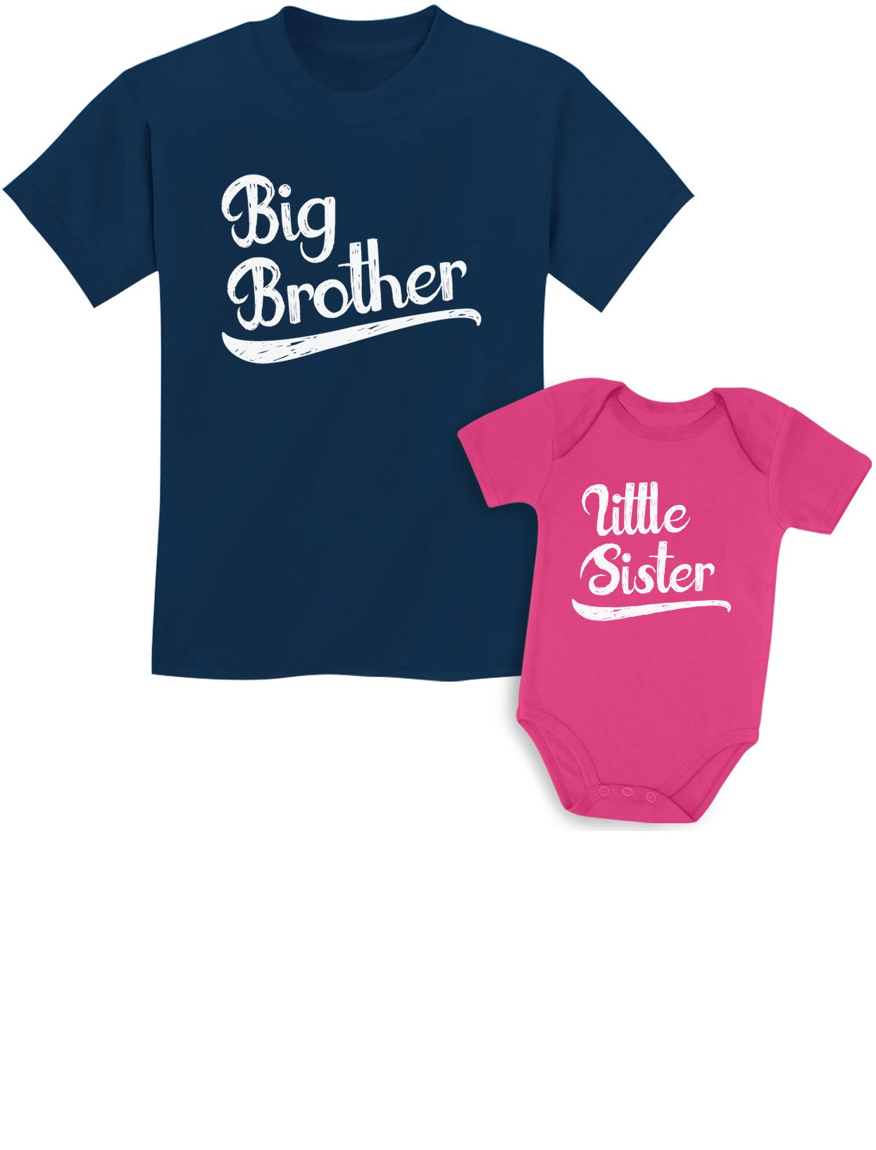 Sibling Shirts Set for Brothers and Sisters Boys & Girls Gift Set Kids Shirt Navy/Baby Wow Pink Kids Shirt 4T / Baby Newborn by Tstars