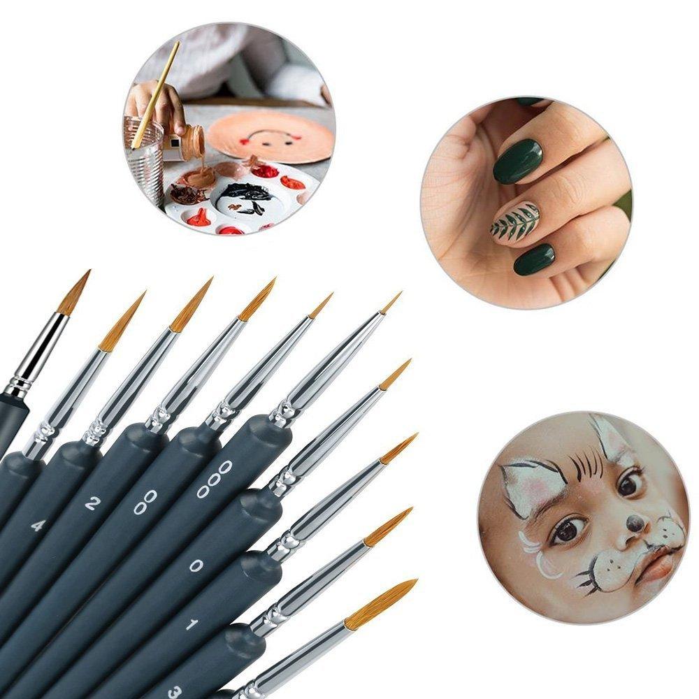 SmileStar Détail Pinceau, 10 pcs Peinture Pinceaux Acrylique avec 3pcs Cadeau pour la Peinture à L\'aquarelle Gouache et Acrylique,Ldéal pour des détails Minutieux et Finition (Style 1)