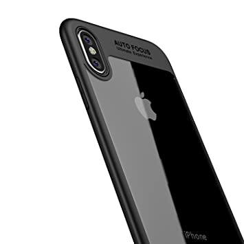 LAYJOY Funda iPhone X, Funda iPhone XS, Carcasa Ligera Bumper Silicona Suave Negro TPU y Transparente Duro PC Case Anti-Arañazos, Anti-Golpes Caso ...