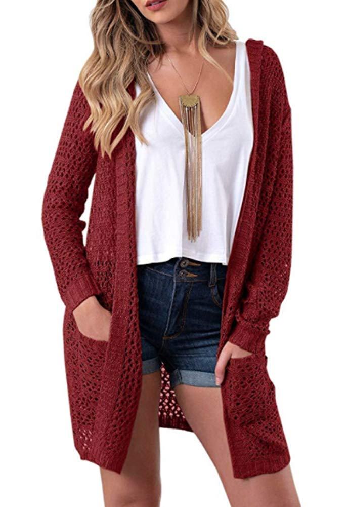 Eleter Women's Cardigan Sweater Open Front Hollow Out Crochet Knitted Hooded Coat Pockets(S,Wine Red)