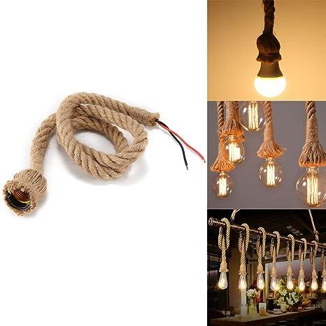E27 lámpara colgante base y cable, Konesky Vintage cáñamo cuerda sola cabeza colgante colgante techo luz 3.3 ft/1M Loft industrial Retro estilo ...