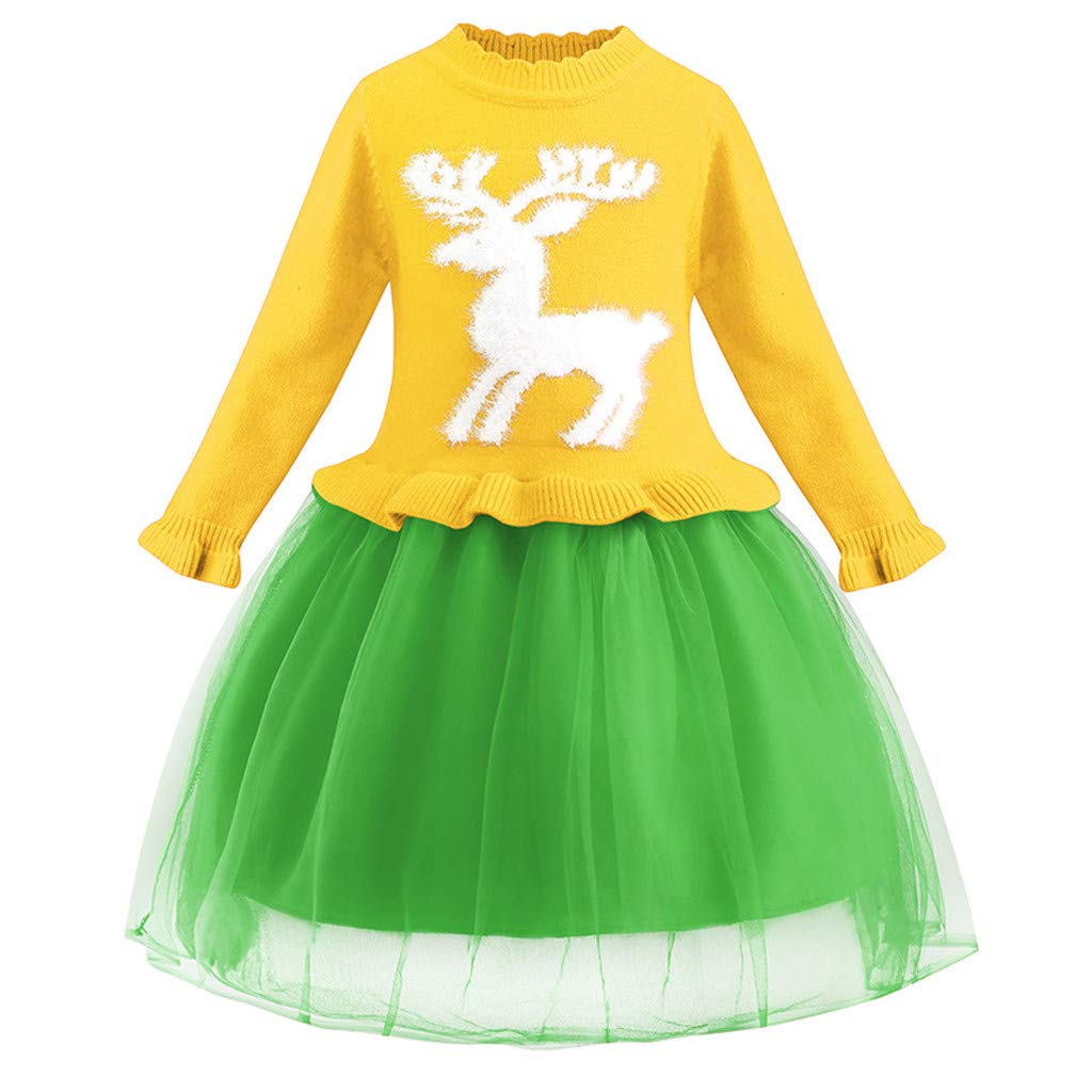 Sameno Girls Christmas Princess Sweater Dress Lace Tulle Tutu Long Sleeve Knitted Pullover Pageant Party Wedding Gown Yellow by SamXmasBaby