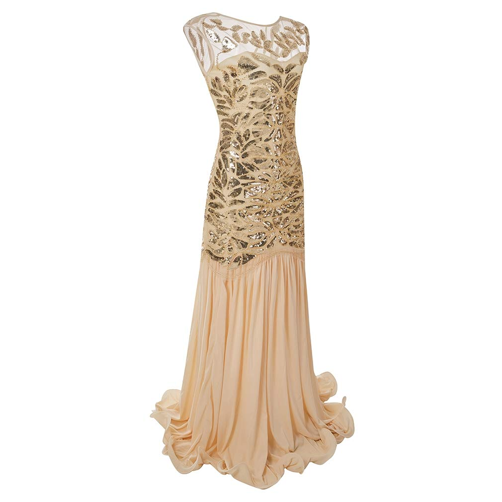 Style1 Apricot COMVIP 2kinds Women Classic 1920s Sequin Beaded Maxi Formal Prom Dress