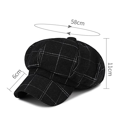 Mastojonster Vintage Plaid Octagonal Hat Women Beret Winter Spring Warm Wool Flat Cap Ladies Hats Baret England Gatsby Caps, Black, OneSize at Amazon ...