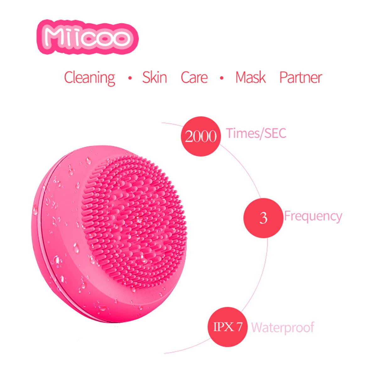 Electric Waterproof Sonic Facial Cleansing Brush and Massager for Women