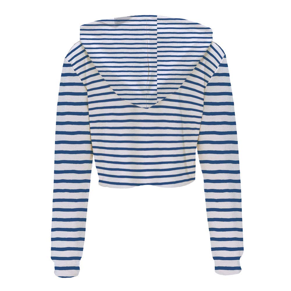 Long Sleeve Crop top Tops with Drawstring S//M Night Blue WhiteAbstract Brushst