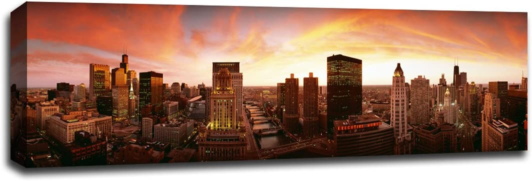 Sunset Skyline Chicago Sunsets 48x16 Gallery Wrapped Canvas Wall Art Posters Prints
