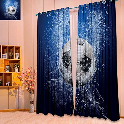 "Thermal Insulated Blackout Curtain Water drops around soccer ball on blue background Living Room Bedroom Window Drapes 2 Panel Set(W52"" x L63"" Pair)"