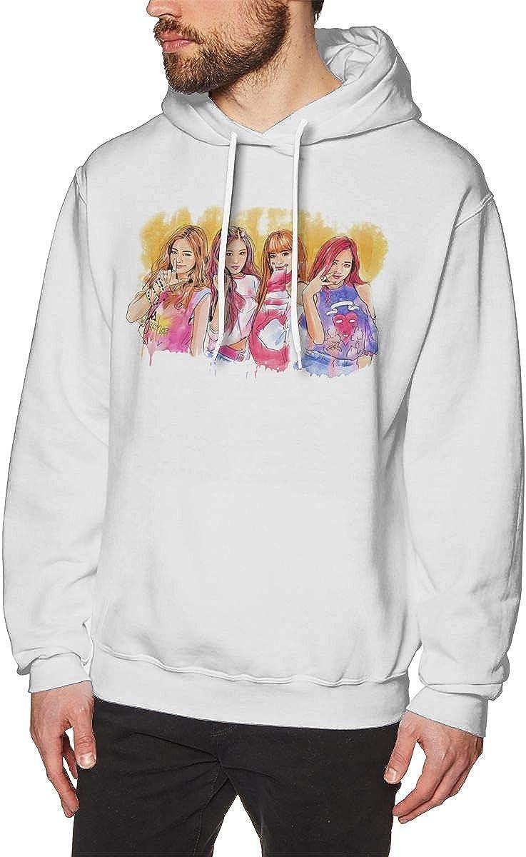 Mens Hoodie Sweatshirt Black-Pink Sweater Black