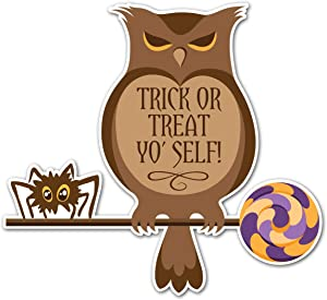 Trick Or Treat Yo' Self Halloween Fall - 5 Inch Full Color Vinyl Decal for Laptop or other device