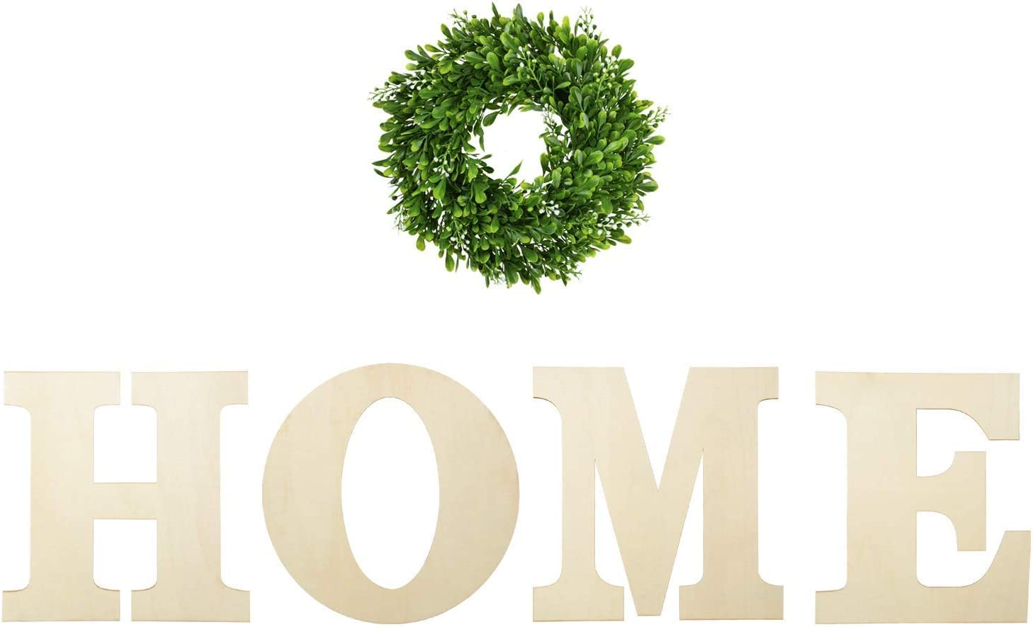 YAROMO 12 Inch Unfinished Wooden Home Letters with 12 Inch Artificial Boxwood Wreath for Home Wall Decoration