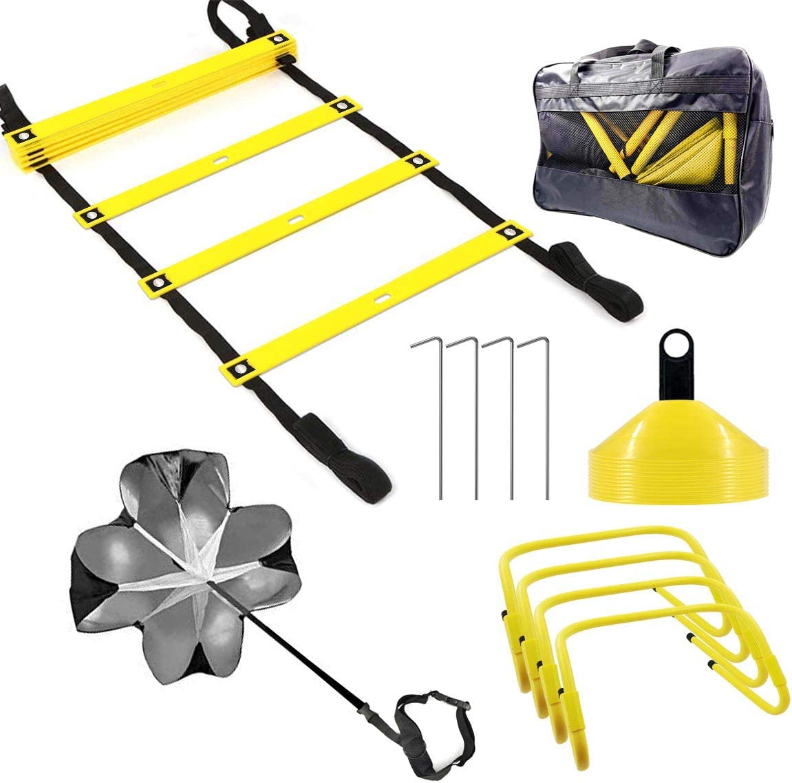 FYGAIN Speed Agility Training Set, Includes Resistance Parachute, Agility Ladder, 4 Steel Stakes, 4 Adjustable Hurdles, 12 Disc Cones with Holder, Speed Training Equipment for Soccer, Football : Sports & Outdoors