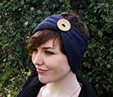 Handmade Blue Merino Wool Bamboo Knit Headband