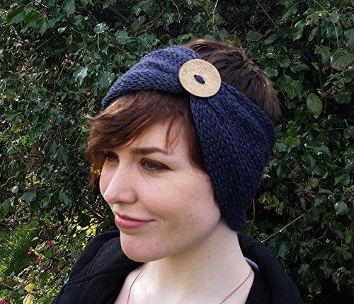 Handmade Blue Merino Wool Bamboo Knit Headband by MacBeanie