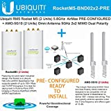 Ubiquiti RocketM5 2Pack BaseStation PtMP PRE-CONF +AMO-5G10 Antenna 2Pack 10dBi