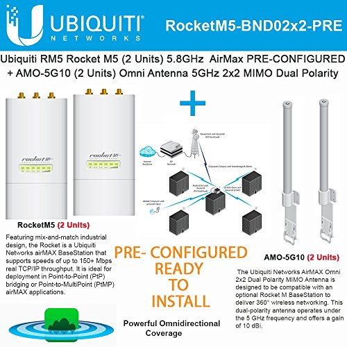Ubiquiti RocketM5 2Pack BaseStation PtMP PRE-CONF +AMO-5G10 Antenna 2Pack 10dBi by Ubiquiti Networks