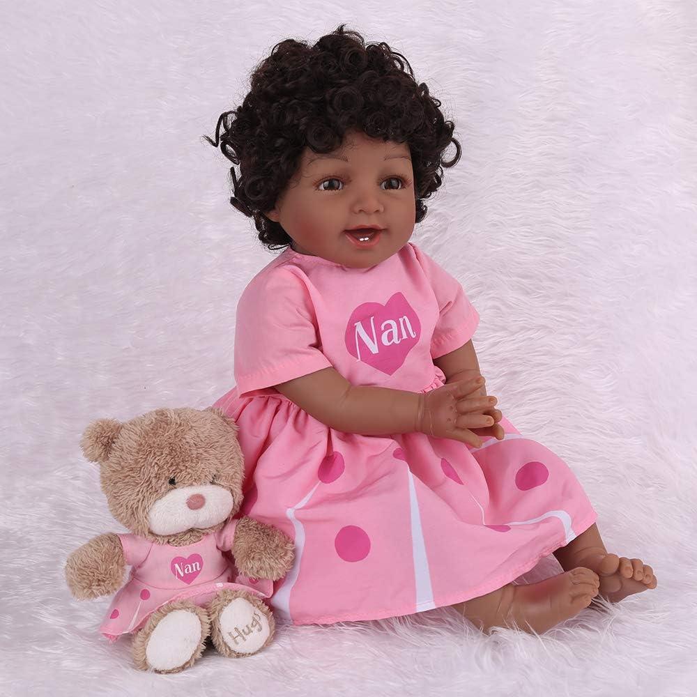 Kaydora Reborn Baby Dolls Black Girl Silicone Laughing Doll 22 inch Lifelike Soft Weighted Body