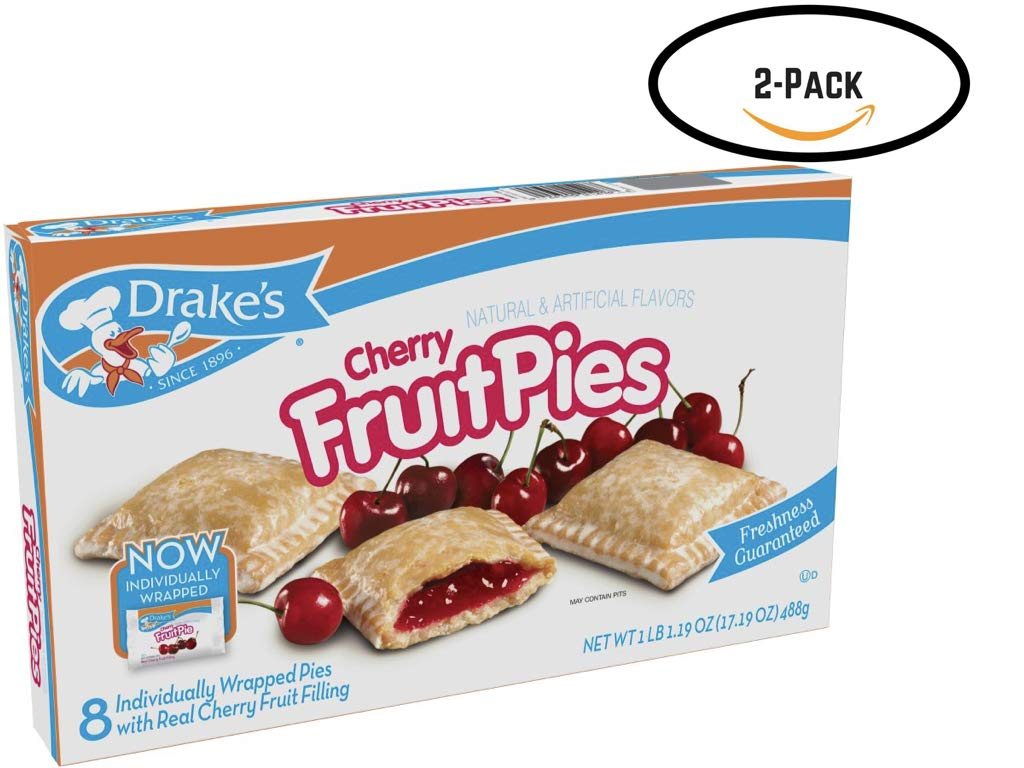 Drake's Cherry Fruit Pies, 8 Apple Pies Per Box, 17.16 Ounces, (2-Boxes) by Drake's