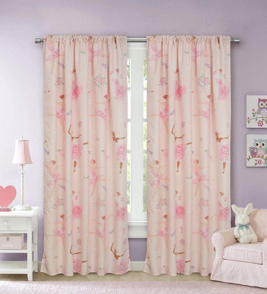 Kidz Mix Dancing Ballerina Window Curtains, 48x84, Pink