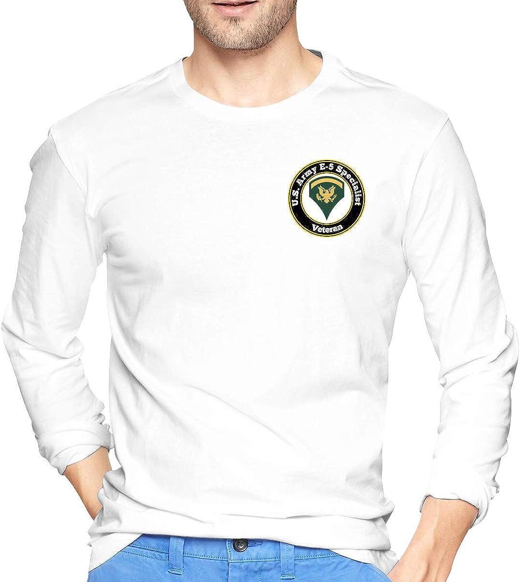 U.S. Army E-5 Specialist Veteran Men's Long Sleeve T-Shirt Cotton T-Shirt Sports T-Shirt