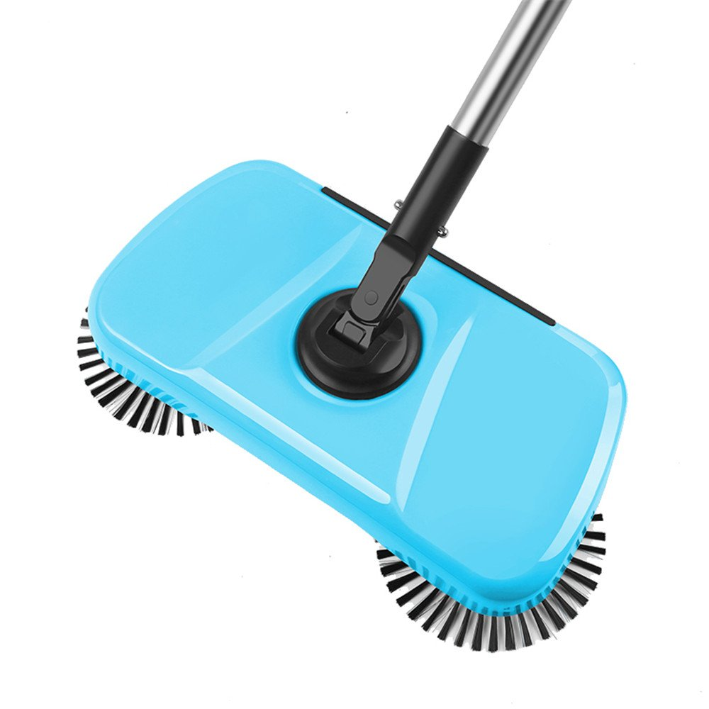 DYHQQ Lazy 3 In 1 Household Cleaning Hand Push Automatic Sweeper Broom – Including Broom & Dustpan & Trash Bin – Cleaner Without Electricity Environmental (Blue)