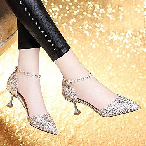Sandales à Boucles Élégant Cool Talons Talons à Hauts Femmes Et Pointues Chaussures Fines Silver à pour DKFJKI Talons Aiguilles Style Et Hauts nwqfYROUx