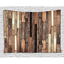 Ambesonne Wooden Wall Hanging Tapestry, Brown Old Hardwood Floor Plank Grunge Lodge Garage Loft Natural Rural Graphic Artsy Print, Bedroom Living Room Dorm Decor, 80 W X 60 L inches, Brown
