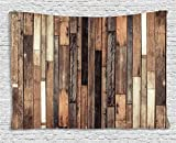 basement wall ideas Ambesonne Wooden Wall Hanging Tapestry, Brown Old Hardwood Floor Plank Grunge Lodge Garage Loft Natural Rural Graphic Artsy Print, Bedroom Living Room Dorm Decor, 80 W X 60 L Inches, Brown