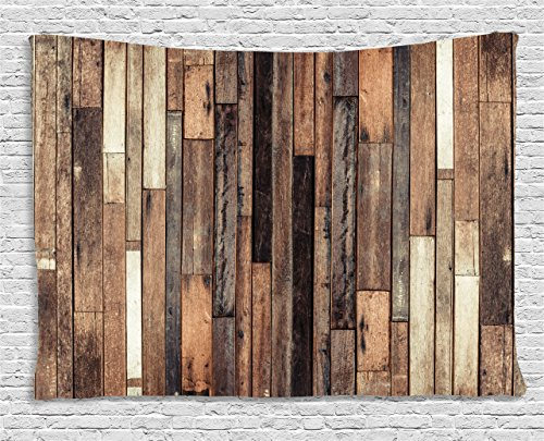 Ambesonne Wooden Wall Hanging Tapestry, Brown Old Hardwood Floor Plank Grunge Lodge Garage Loft Natural Rural Graphic Artsy Print, Bedroom Living Room Dorm Decor, 80 W X 60 L Inches, -