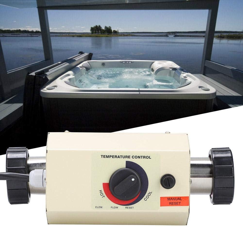 Pangding Calentador de Agua Termostato 3KW Mini Calentador de Agua Thermotank para Piscina Bañera de Masaje SPA Bath(Blanco)
