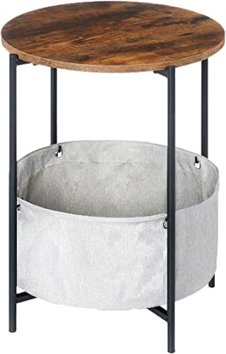 KingSo Round Side Table 2-Tier Industrial Nightstand