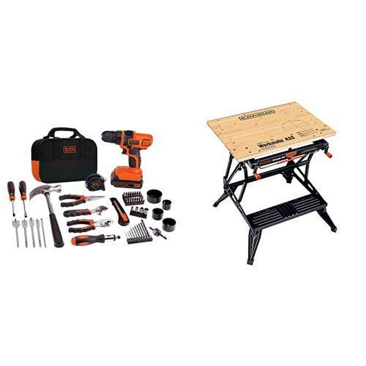 BLACK+DECKER 20V MAX Drill & Home Tool Kit, 68 Piece (LDX120PK) with BLACK+DECKER WM425-A Portable Project Center and Vise