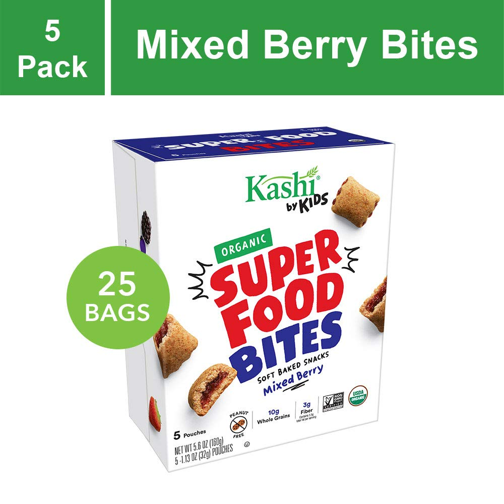 Kashi by Kids Super Food Mixed Berry Bites - Soft Baked Organic Snacks | 5 Count (Pack of 5) by Kashi