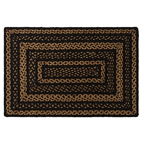 India House Black Rectangle Rug - VHC Brands 9801 Classic Country Primitive Flooring - Farmhouse Jute Black Rug 20x30 Plain