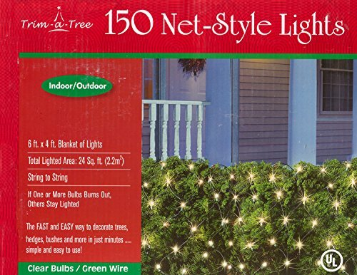 Trim-a-Tree 150 Indoor Outdoor Net Style Christmas Lights (Clear) (Lights Netting Christmas)