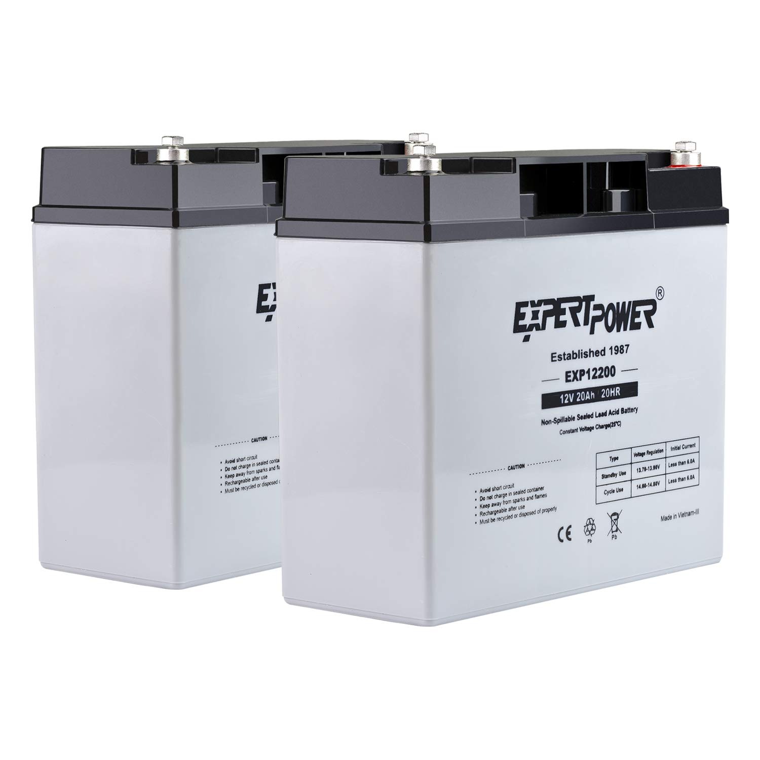 (2 Pack) ExpertPower 12 Volt 20 Ah Rechargeable Battery with Threaded Terminals [EXP12200] Height 6.57 In (From Center of Terminal)