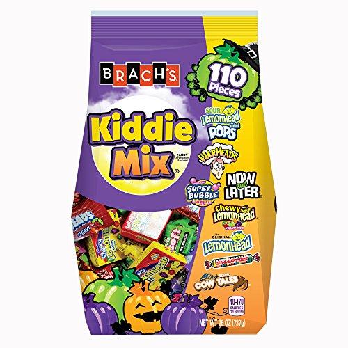 Brachs Kiddie Mix Candy | Sour LemonHead Mini Pops, WarHead, Now & Later, Super Bubble Gum, Chewy Fruit, Smarties, Cow Tales | Autumn & Halloween Trick a Treat Candy | 110 Pieces Net 26 Oz. (110 Mix)