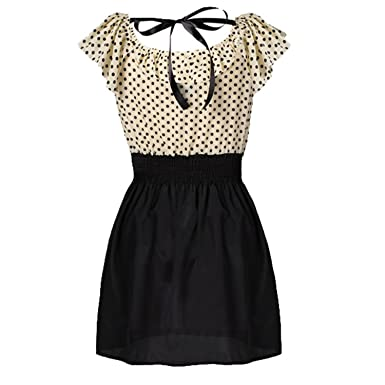 28fd61a765b Zeagoo Korean Women Summer New Fashion Short-sleeve Dots Polka Waist Dress   Amazon.co.uk  Clothing